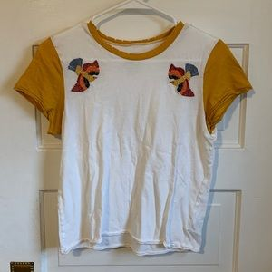 American Eagle embroidered cropped tee